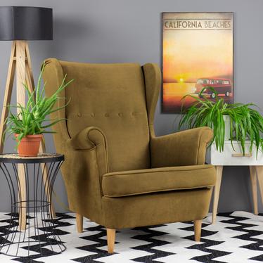 Fotel z podnóżkiem Malmo khaki w tkaninie Easy Clean