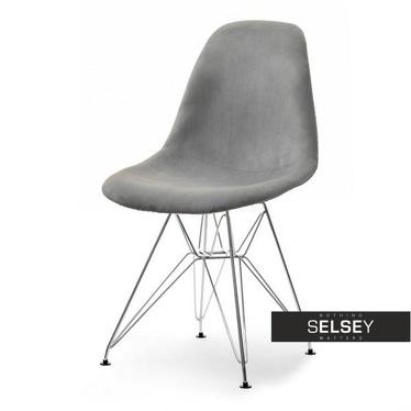Krzesło MPC rod tap szare na chromowanej podstawie velvet