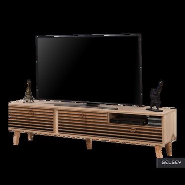 Szafka RTV Smartser 180 cm z frontami w brązowe cieniowane pasy