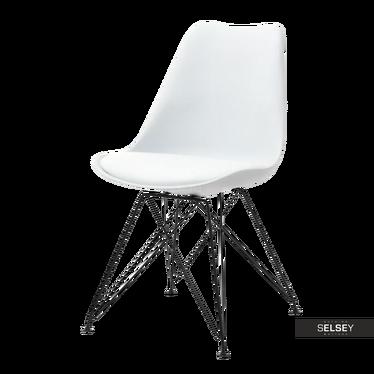 Krzesło Luis rod białe na czarnej podstawie