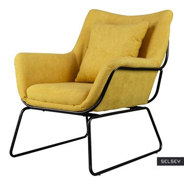Fotel Tale żółty na czarnej podstawie z wyprofilowanym oparciem
