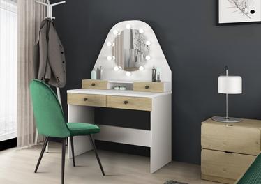Toaletka Dacetino biały - dąb sonoma z okrągłym lustrem i oświetleniem - made in Barcelona