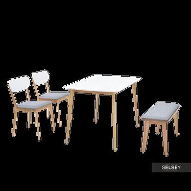 Stół z krzesłami Figaro z białym blatem na dębowych nogach