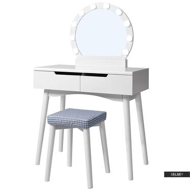 Toaletka Gaga biała z okragłym lustrem i stołkiem z oświetleniem