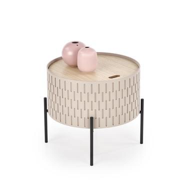 Stolik kawowy Avene pudrowy o średnicy 35 cm z pojemnikiem