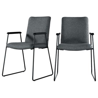 Zestaw dwóch krzeseł tapicerowanych z podłokietnikami Alake ciemnoszare