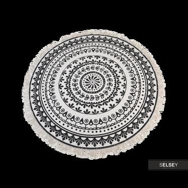 Dywan okrągły z frędzlami ciemny wzór średnica 120 cm wzór 2