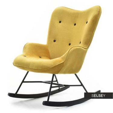 Fotel bujany Sibil żółty uszak welurowy