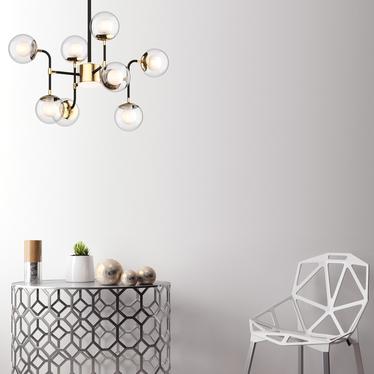 Lampa wisząca Ortona x8 złota transparentna 123 cm