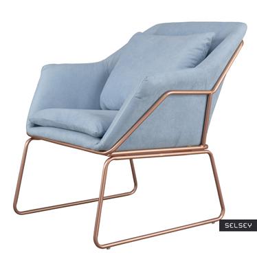 Fotel Tale błękitny na podstawie w kolorze różowego złota