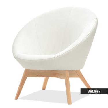 Fotel Gobi biała ekoskóra kubełkowy