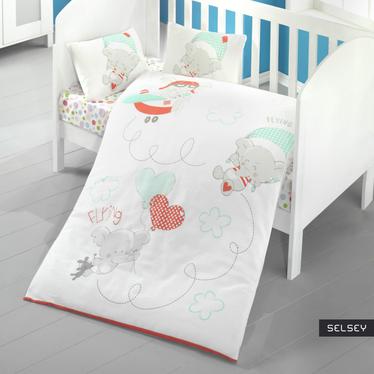 Dziecięca pościel do łóżeczka Flying Elephants 100x150 cm z dwiema poszewkami na poduszkę 35x45 cm i z prześcieradłem