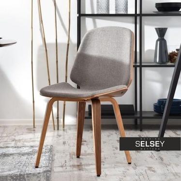 Krzesło Vince orzech-beż z giętego drewna tapicerowane