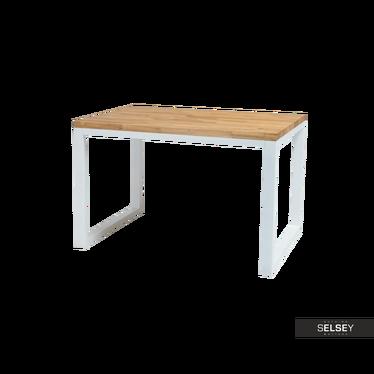 Stół Owens 180x90 cm z litego drewna z białą podstawą