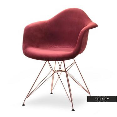 Krzesło MPA rod tap bordo-miedź nowoczesne z podłokietnikami