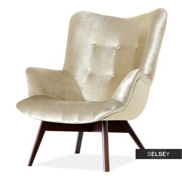Fotel Flori złoty - orzech uszak pikowany velvet