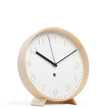 Zegar Rimwood biały z naturalnym drewnem