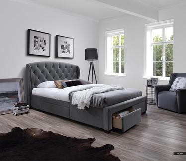Łóżko tapicerowane Boho z szufladami