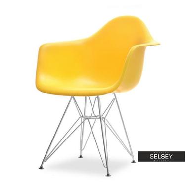 Krzesło MPA rod żółte z tworzywa na chromowanych nogach