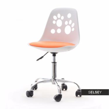 Dziecięcy fotel obrotowy FOOT biało pomarańczowy