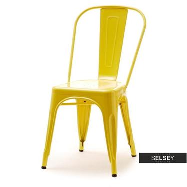 Krzesło Alfredo 1 żółte loftowe z metalu