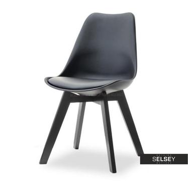 Krzesło Luis wood czarne tapicerowane z oparciem
