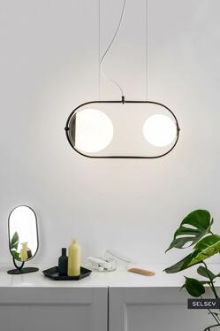 Lampa wisząca Kerina I z białym przewodem w poliestrowym oplocie