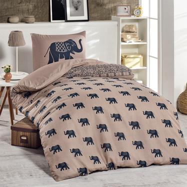 Komplet pościeli Indie 140x220 cm z poszewką na poduszkę 50x70 cm granatowe słonie