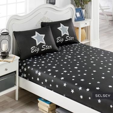 Prześcieradło Big Stars 160x200 cm z dwiema poszewkami na poduszki 50x70 cm