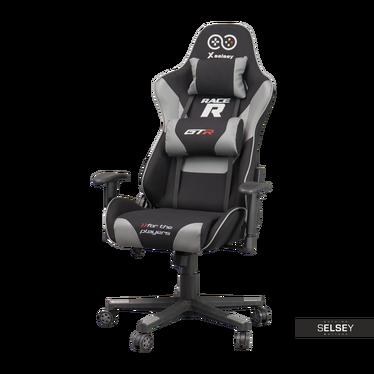 Fotel gamingowy Racer GTR czarno - szary z poduszkami