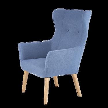 Fotel Emifban na drewnianych nogach - niebieskie tapicerowanie