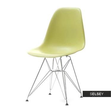 Krzesło MPC rod zielone na chromowanych nóżkach