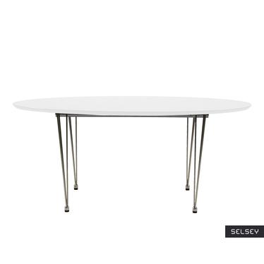 Stół rozkładany Vuka 170(270)x100 cm biały z chromowaną podstawą