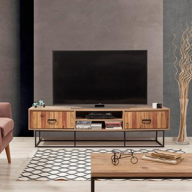 Szafka RTV Kolosu 180 cm sosnowa z dekorem drewnianych listewek na frontach