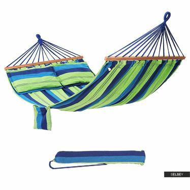 Hamak Boho Stripes zielono niebieski z poduszkami