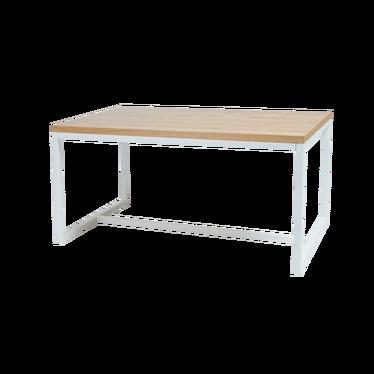 Stół Owens 150x90 cm z litego drewna z białą podstawą z poziomym wzmocnieniem