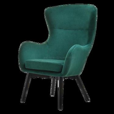 Fotel Leta zielony na czarnych nogach velvet