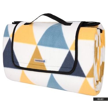 Koc piknikowy Fresh Air 200x200 cm składany w torbę z rączką wzór w kolorowe trójkąty