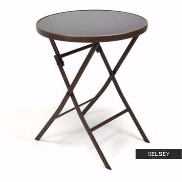 Składany stolik ogrodowy ze szklanym blatem średnica 60 cm brązowy