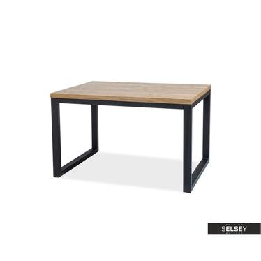 Stół Owens 150x90 cm z litego drewna z czarną podstawą