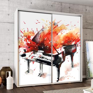 Szafa Wenecja 205 cm Akwarelowy fortepian w ogniu