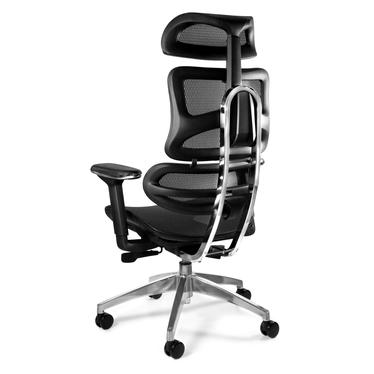 Fotel ergonomiczny Lewsany z chromowaną podstawą