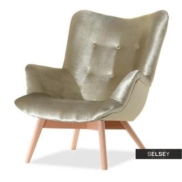 Fotel Flori złoty - buk uszak pikowany velvet