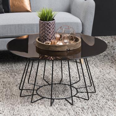 Stolik kawowy Cres o średnicy 80 cm brązowy z czarną podstawą i lustrzanym blatem