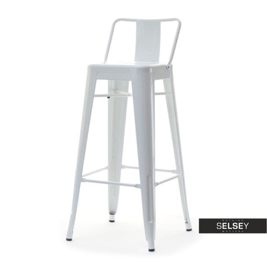 Hoker Alfredo stool 1 biały z metalu