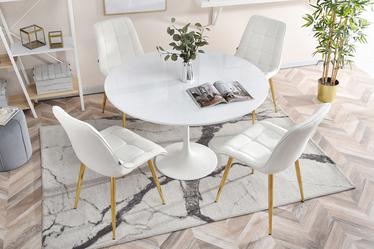 Krzesło Olsen biało - złote tapicerowane z przeszyciami