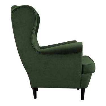 Fotel uszak Malmo butelkowa zieleń w tkaninie Easy Clean na czarnych nóżkach