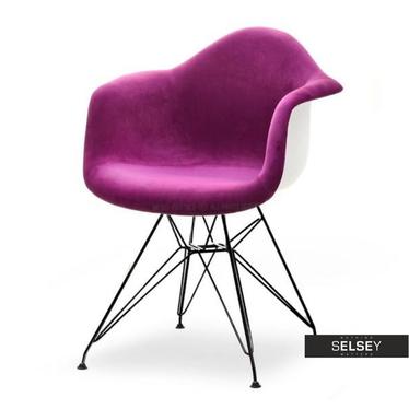 Krzesło MPA rod tap fioletowo-czarne na ażurowych nóżkach