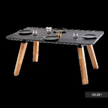 Stół Sorbo 160x90 cm z czarnego drewna do kuchni