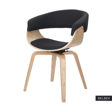 Krzesło tapicerowane Asarlo czarne na klonowych nogach